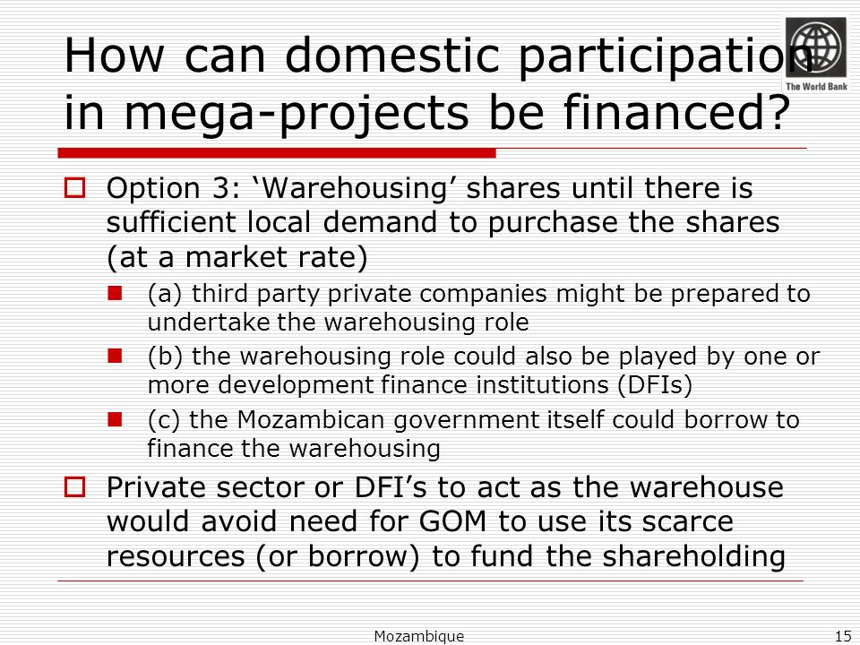 How can domestic participation in mega-projects be financed