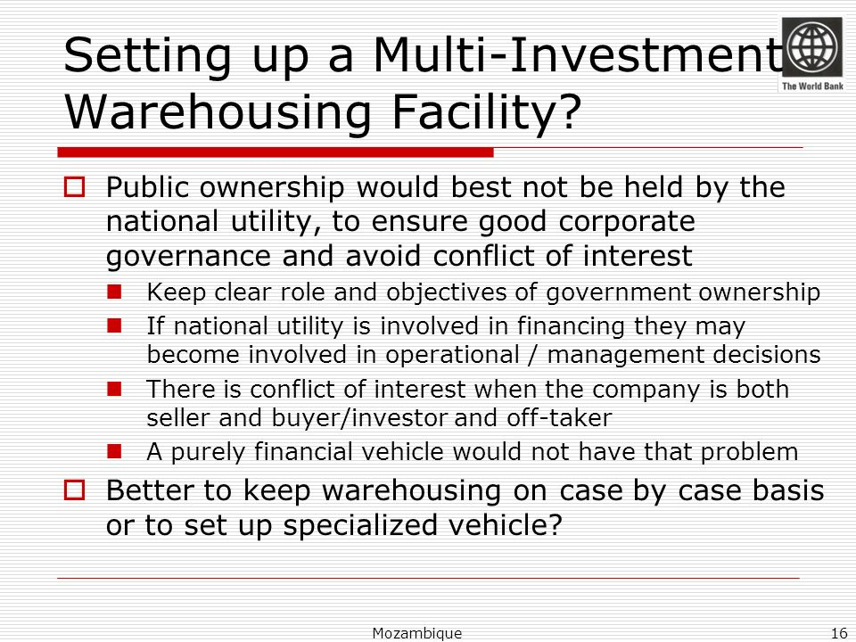 Setting up a Multi-Investment Warehousing Facility