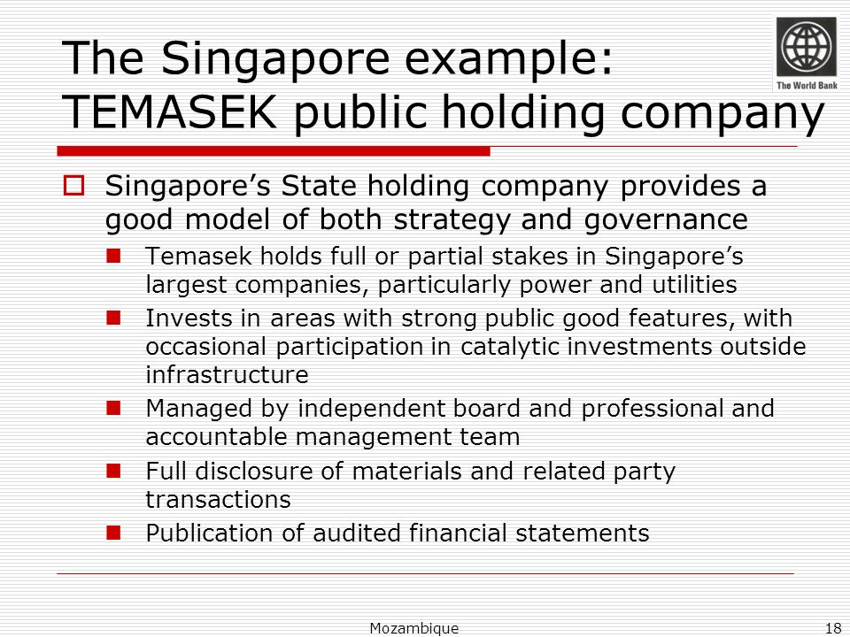 The Singapore example: TEMASEK public holding company