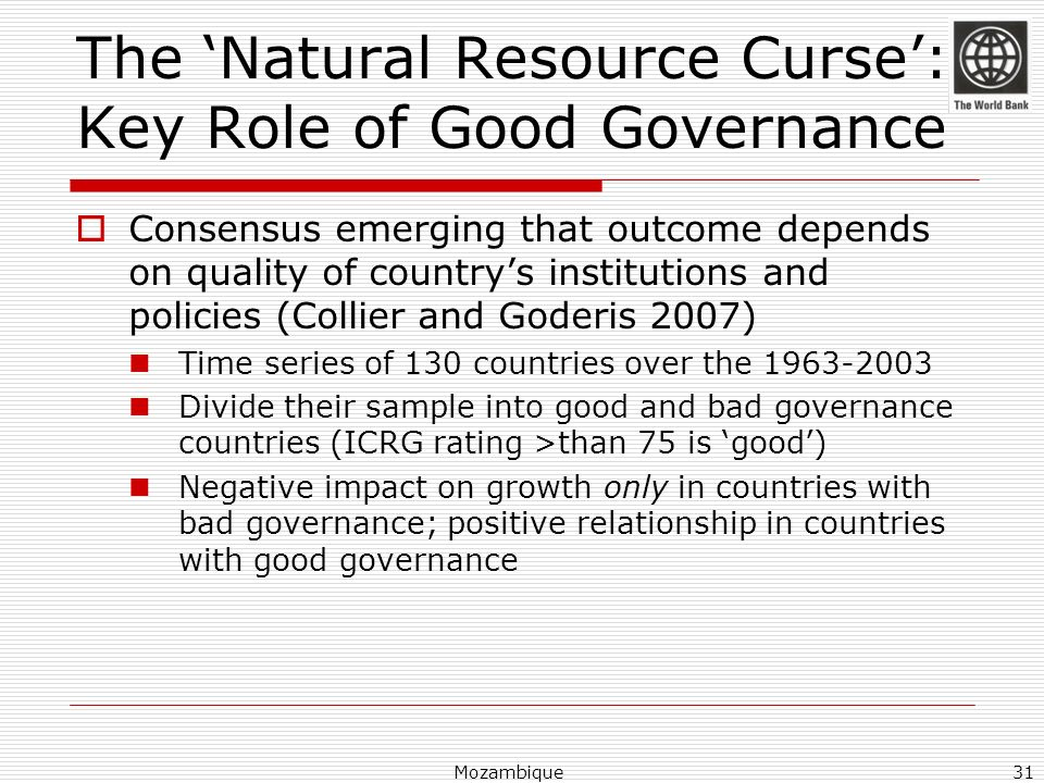 The 'Natural Resource Curse': Key Role of Good Governance