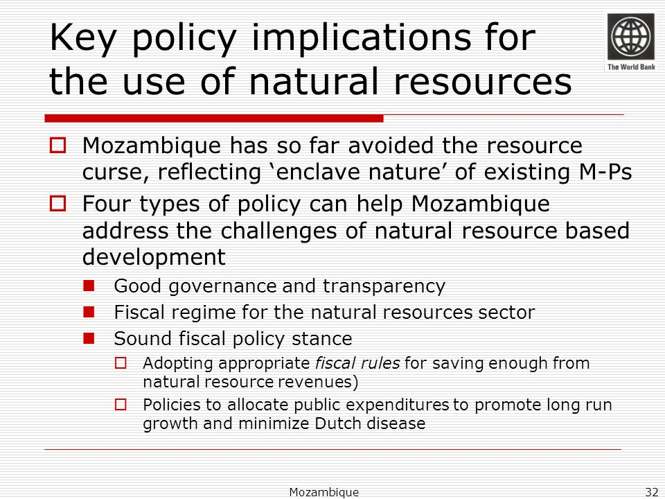 Key policy implications for the use of natural resources