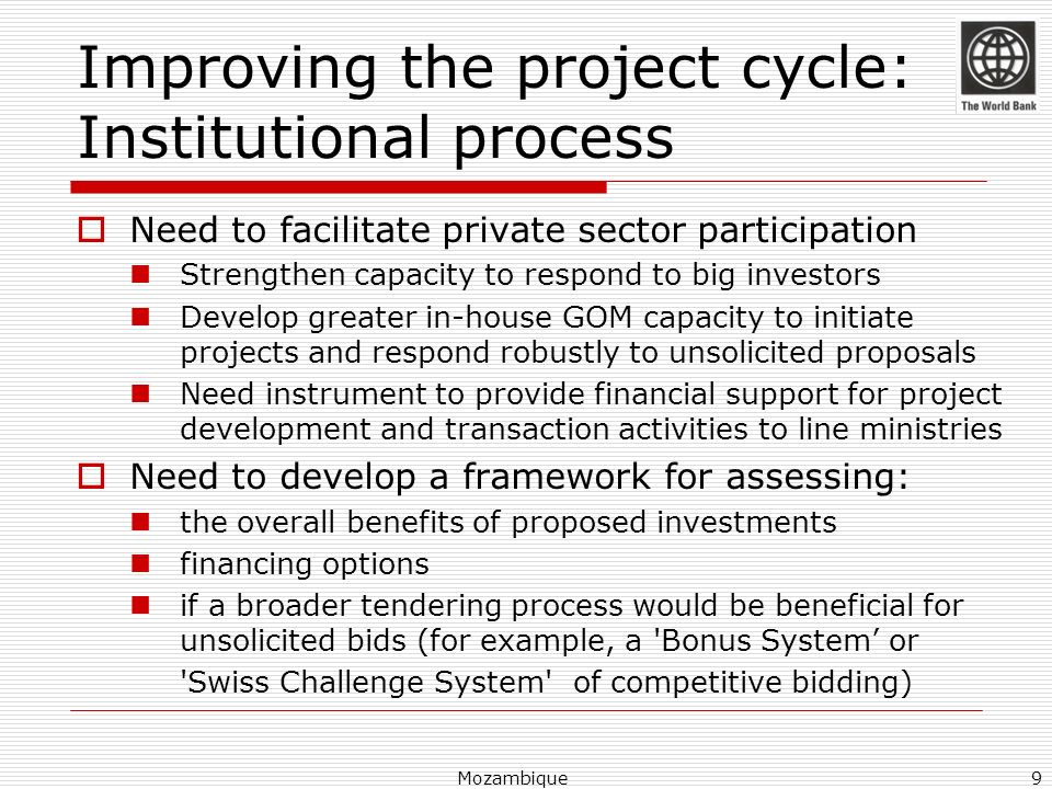 Improving the project cycle: Institutional process