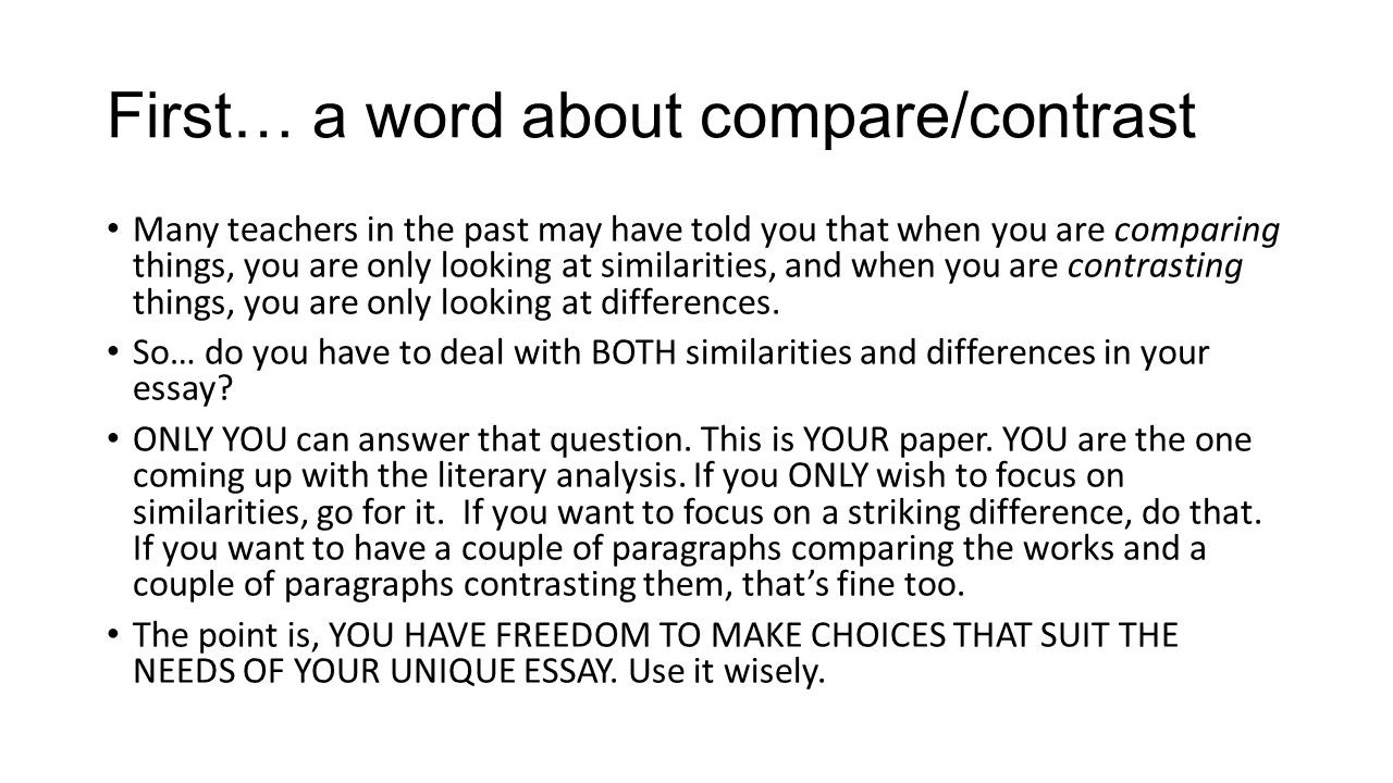 write compare contrast essay poem To write a compare and contrast essay, start by choosing 2 subjects to compare, like a film and the book it's based on or 2 different animals then, think about how your subjects are similar and different and.
