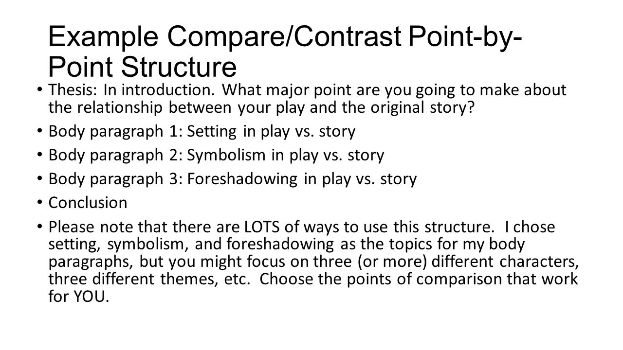write compare contrast point point essay This handout will help you determine if an assignment is asking for comparing and contrasting comparison/contrast essay point of comparison or contrast.