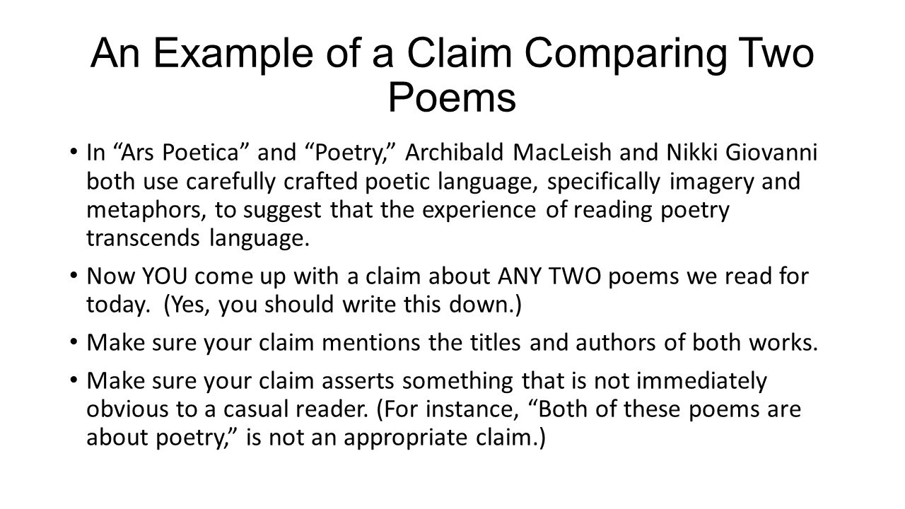 writing an essay from a poem Writing an explication is an effective way for a reader to connect a poem's plot and conflicts with its structural features this handout reviews some of the important techniques of approaching and writing a poetry explication, and includes parts of two sample explications.