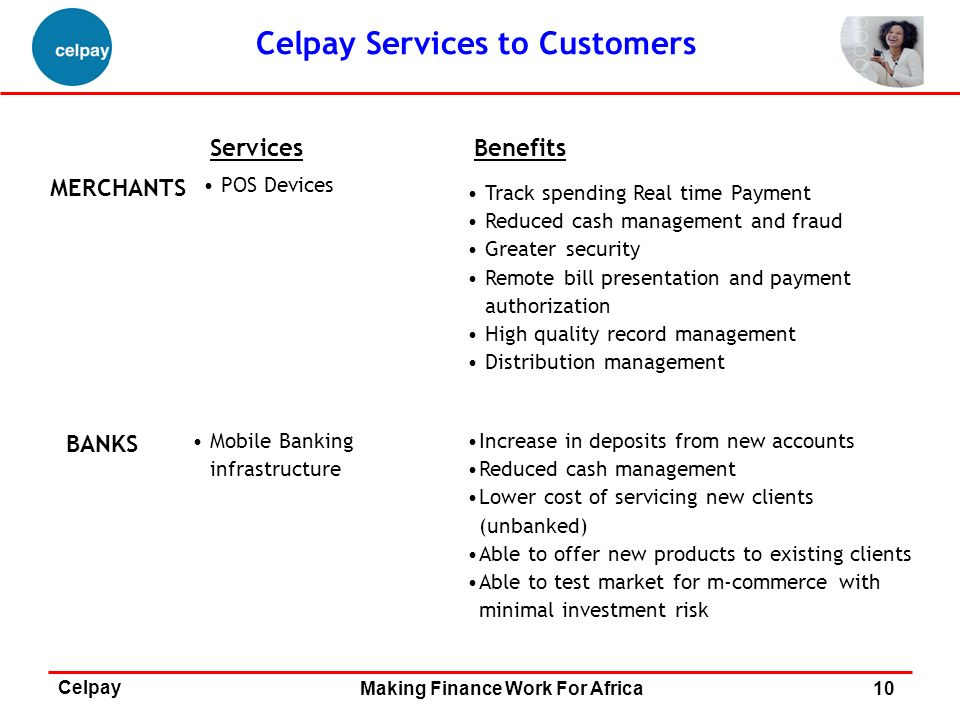 Celpay Services to Customers