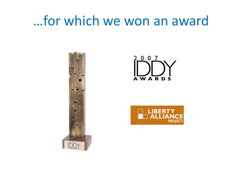 …for which we won an award