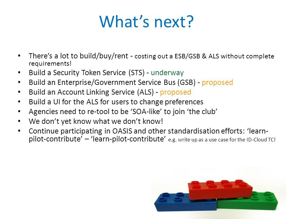 What's next There's a lot to build/buy/rent - costing out a ESB/GSB & ALS without complete requirements!