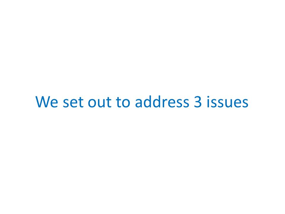 We set out to address 3 issues
