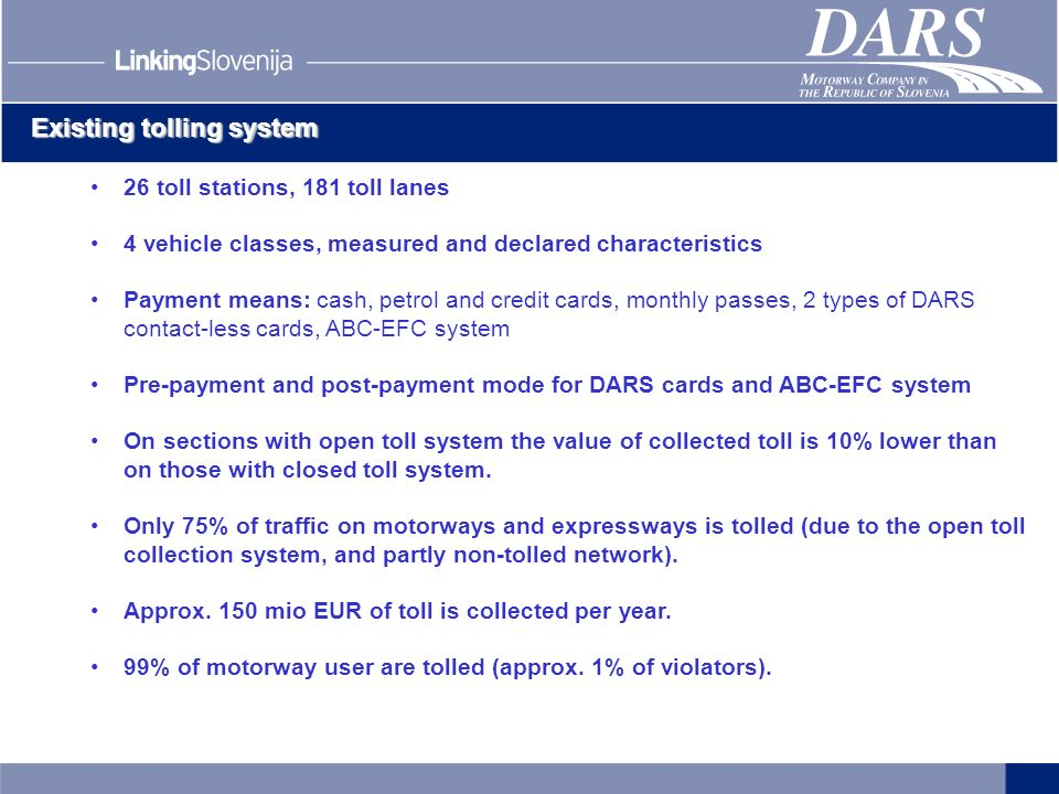 Existing tolling system