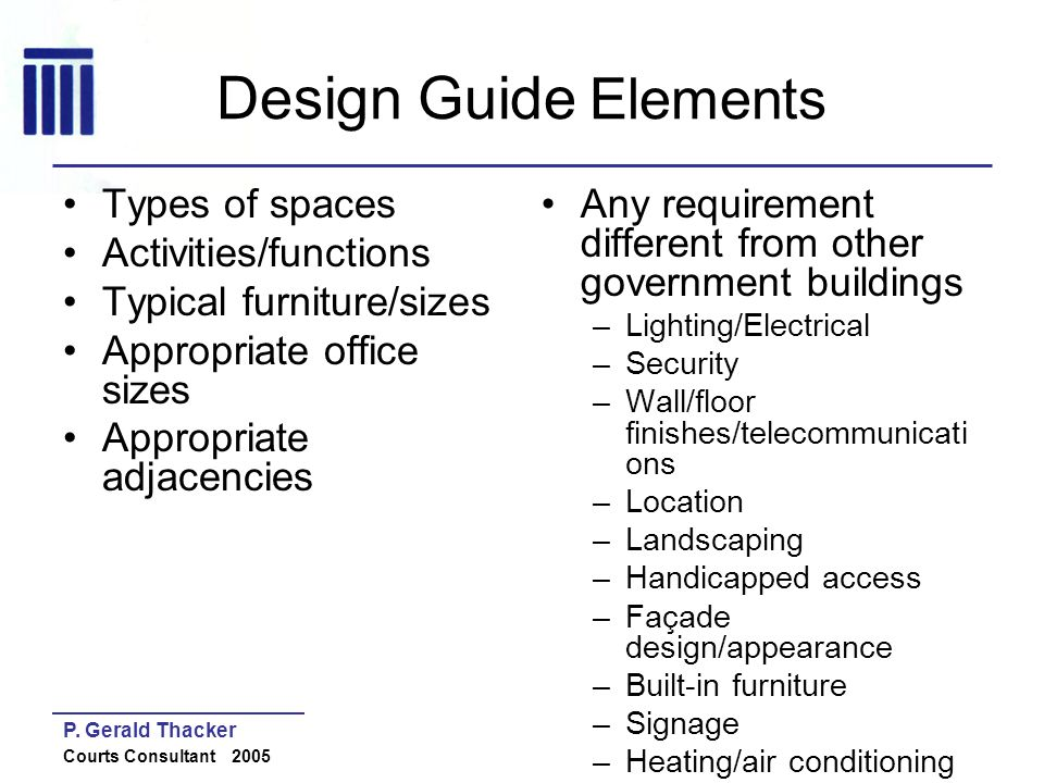 Design Guide Elements Types of spaces Activities/functions