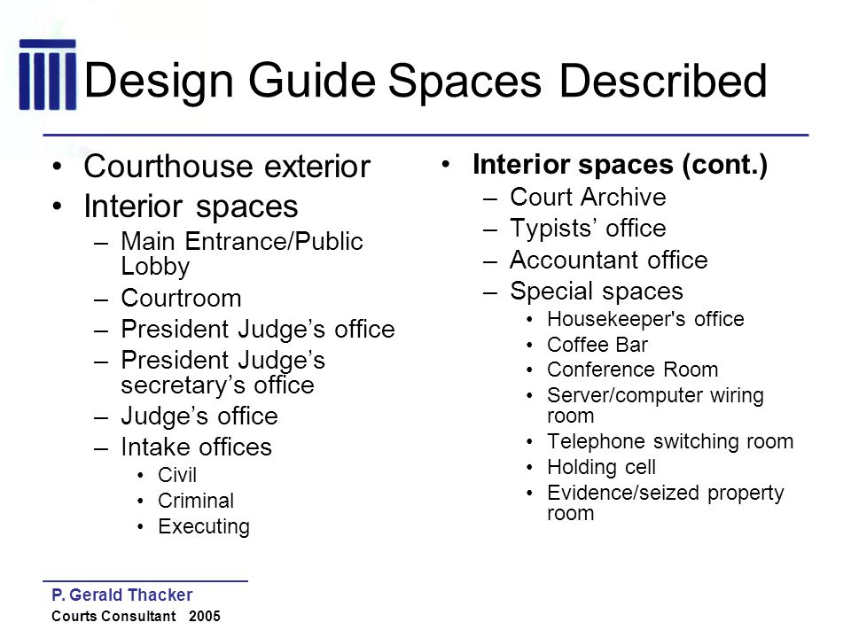 Design Guide Spaces Described