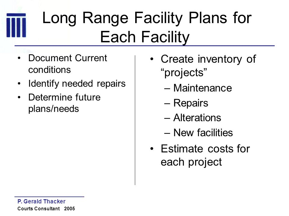 Long Range Facility Plans for Each Facility