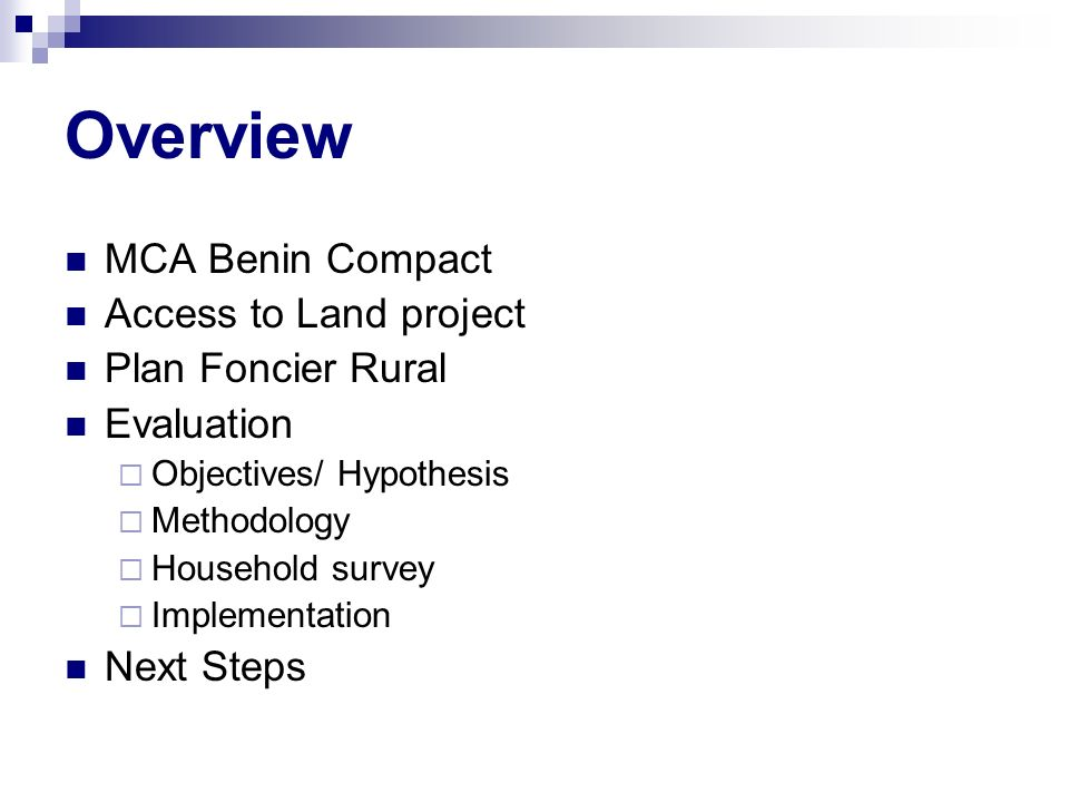 Overview MCA Benin Compact Access to Land project Plan Foncier Rural