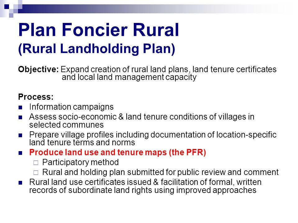 Plan Foncier Rural (Rural Landholding Plan)