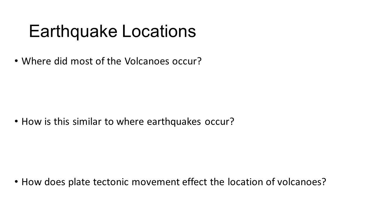 Earthquake Locations Where did most of the Volcanoes occur