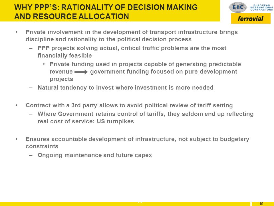 WHY PPP'S: RATIONALITY OF DECISION MAKING AND RESOURCE ALLOCATION
