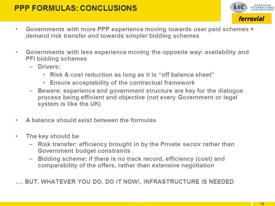 PPP FORMULAS: CONCLUSIONS