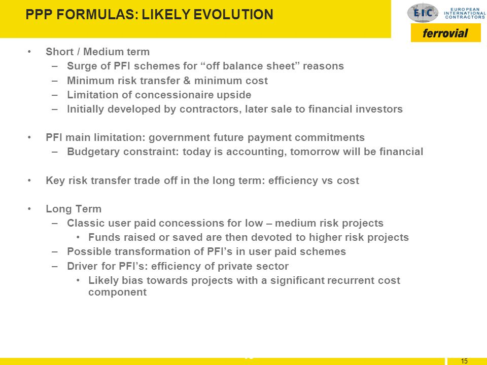 PPP FORMULAS: LIKELY EVOLUTION