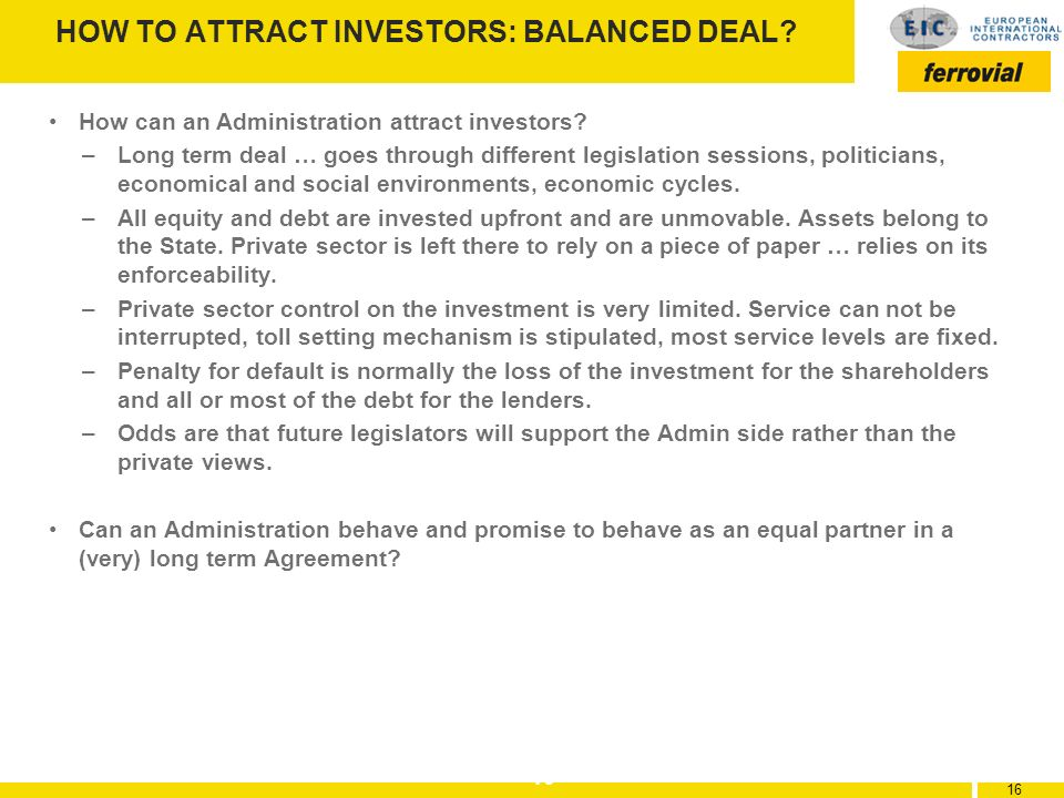 HOW TO ATTRACT INVESTORS: BALANCED DEAL
