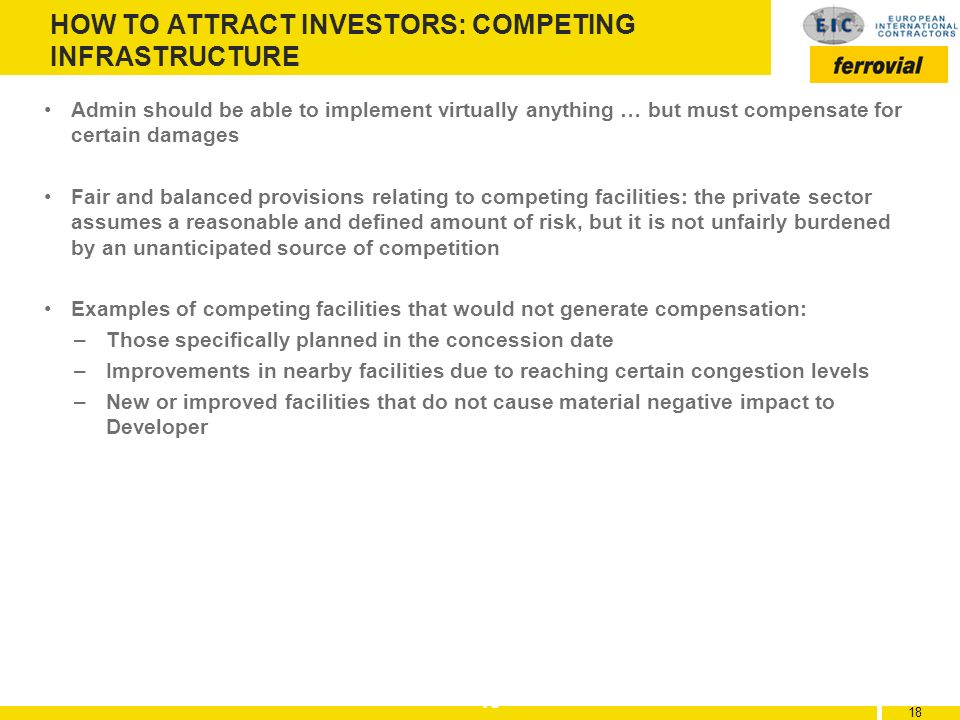 HOW TO ATTRACT INVESTORS: COMPETING INFRASTRUCTURE