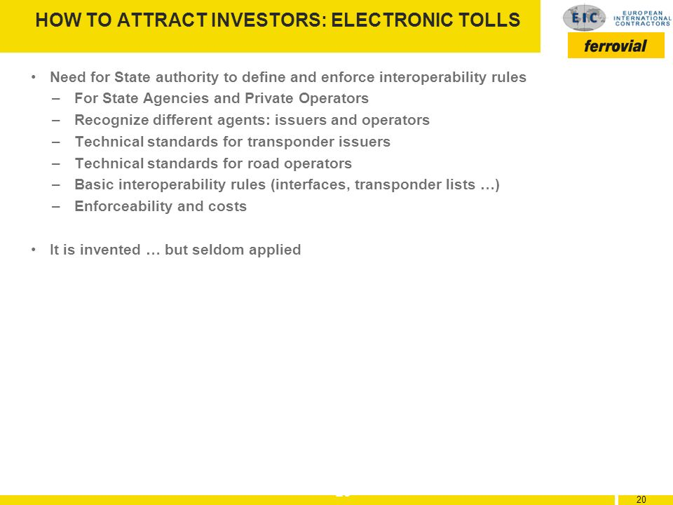 HOW TO ATTRACT INVESTORS: ELECTRONIC TOLLS
