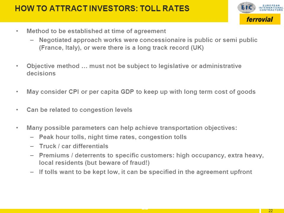 HOW TO ATTRACT INVESTORS: TOLL RATES