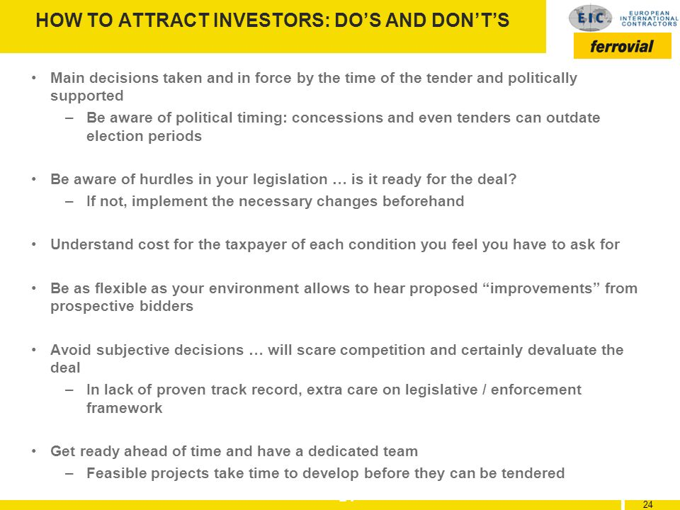 HOW TO ATTRACT INVESTORS: DO'S AND DON'T'S