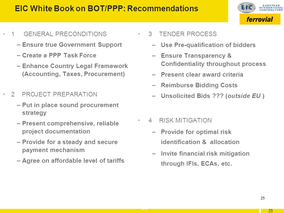 EIC White Book on BOT/PPP: Recommendations