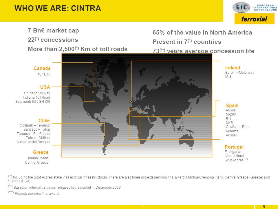 WHO WE ARE: CINTRA 7 Bn€ market cap 65% of the value in North America