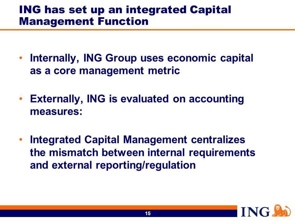 ING has set up an integrated Capital Management Function