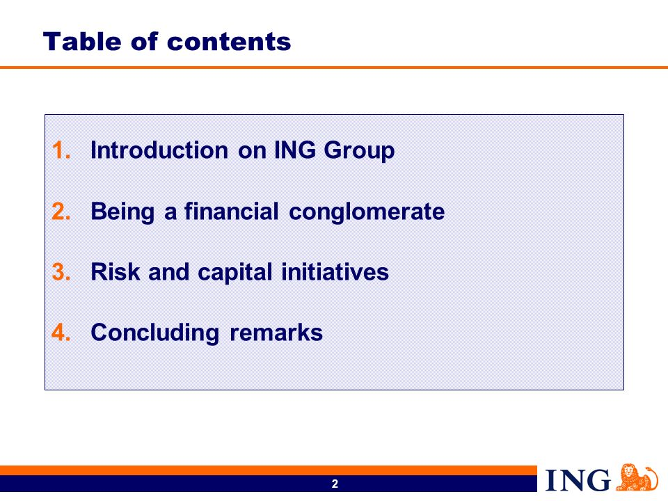 Table of contents Introduction on ING Group