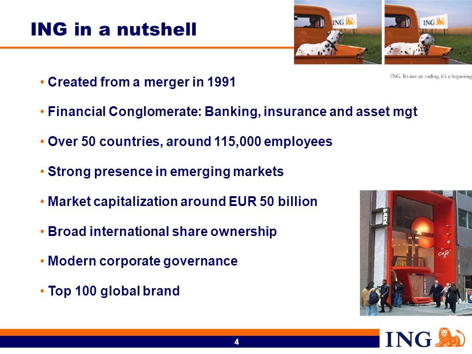 ING in a nutshell Created from a merger in 1991