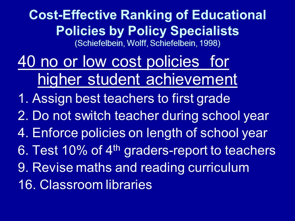 40 no or low cost policies for higher student achievement