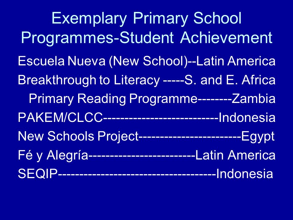 Exemplary Primary School Programmes-Student Achievement