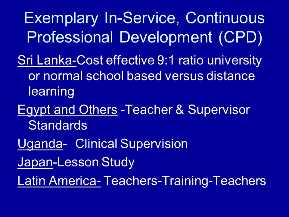 Exemplary In-Service, Continuous Professional Development (CPD)