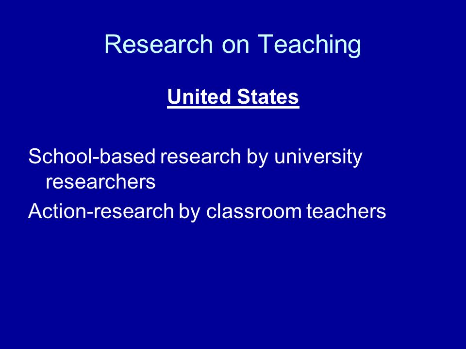 Research on Teaching United States