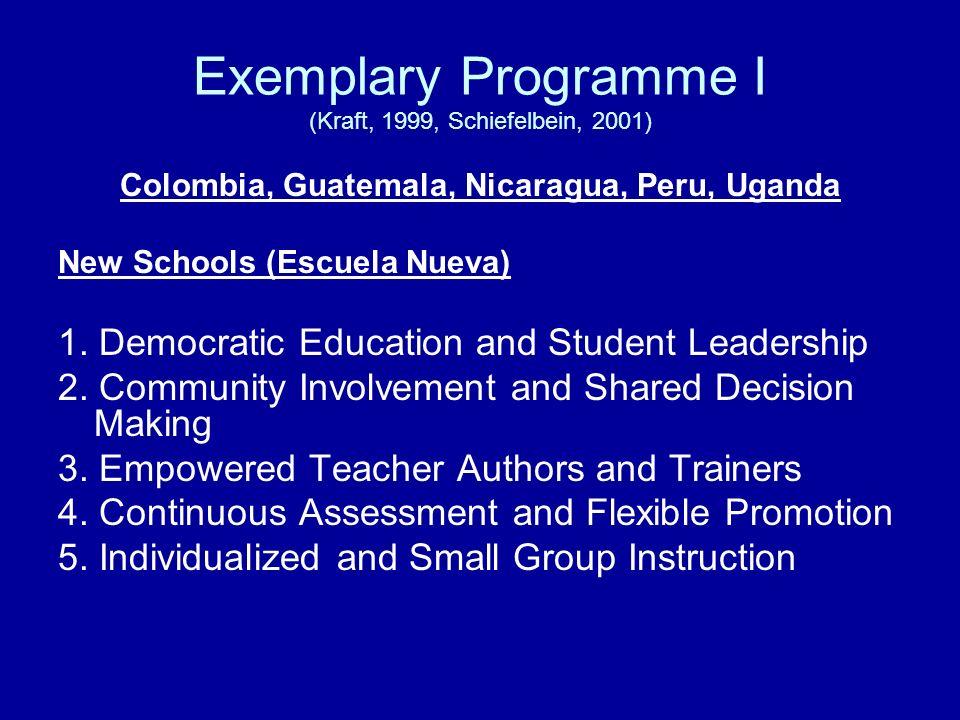 Exemplary Programme I (Kraft, 1999, Schiefelbein, 2001)