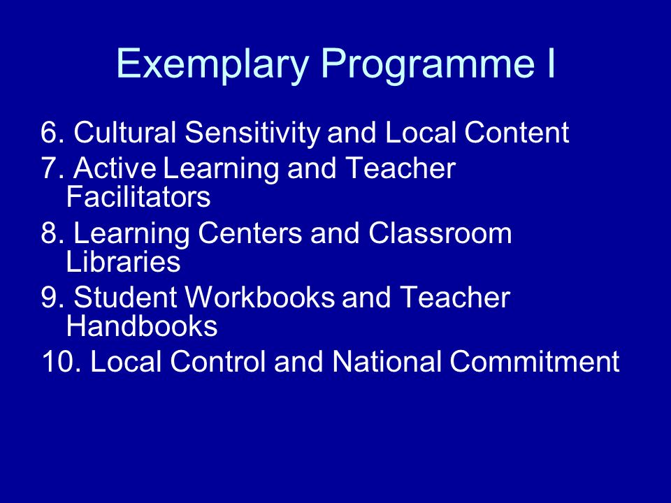 Exemplary Programme I 6. Cultural Sensitivity and Local Content