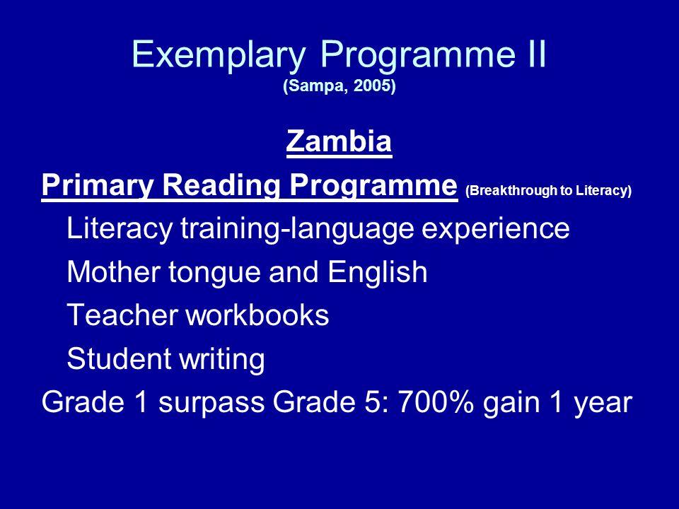 Exemplary Programme II (Sampa, 2005)