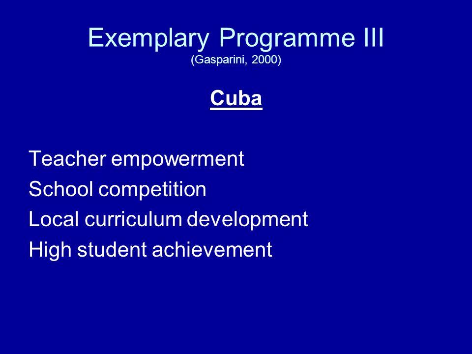Exemplary Programme III (Gasparini, 2000)