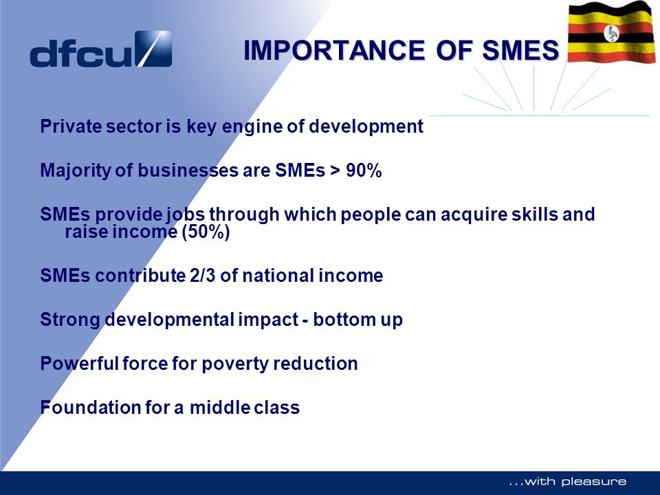 IMPORTANCE OF SMES Private sector is key engine of development