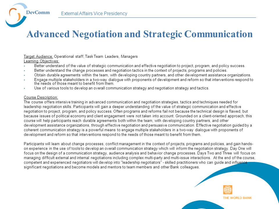 Advanced Negotiation and Strategic Communication