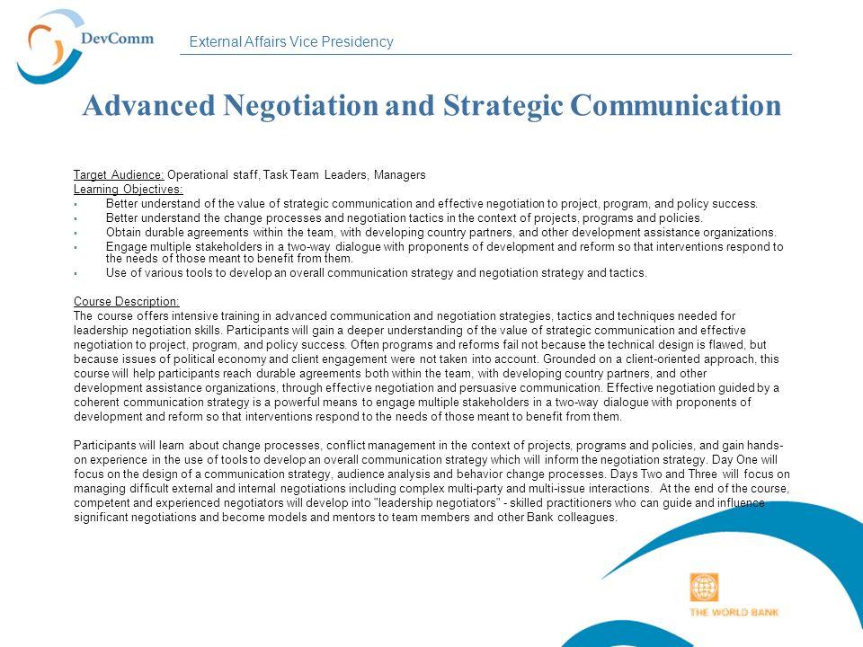 Advanced Negotiation and Strategic Communication