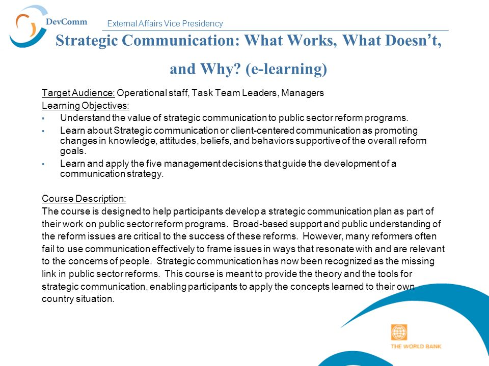 Strategic Communication: What Works, What Doesn't, and Why
