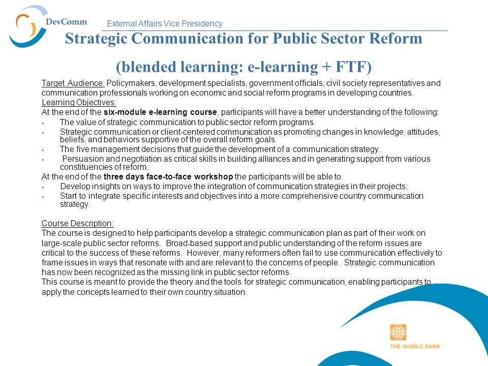 Strategic Communication for Public Sector Reform (blended learning: e-learning + FTF)