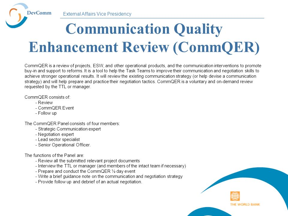 Communication Quality Enhancement Review (CommQER)