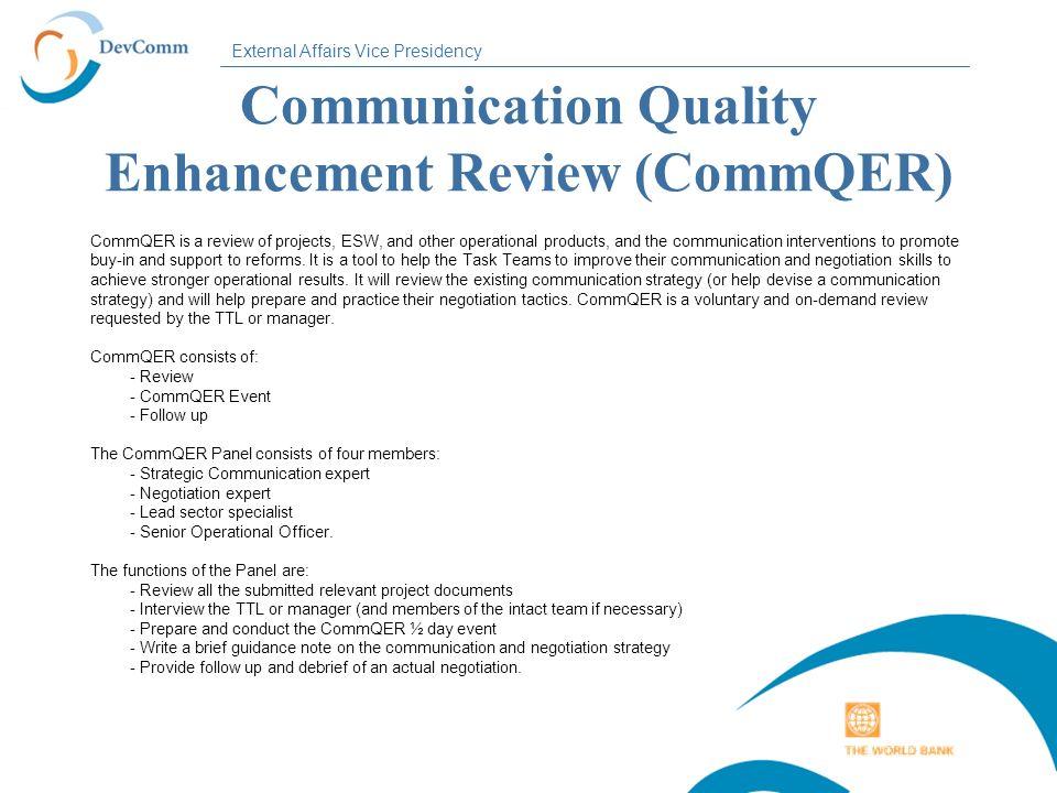 Communication Quality Enhancement Review (CommQER)
