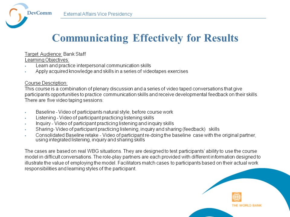 Communicating Effectively for Results