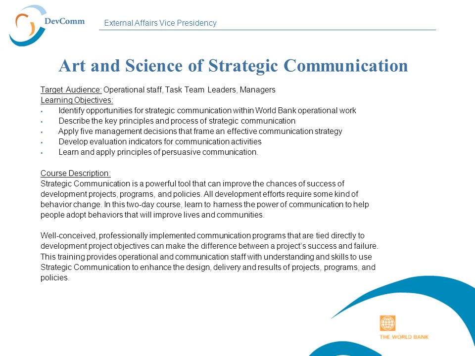 Art and Science of Strategic Communication